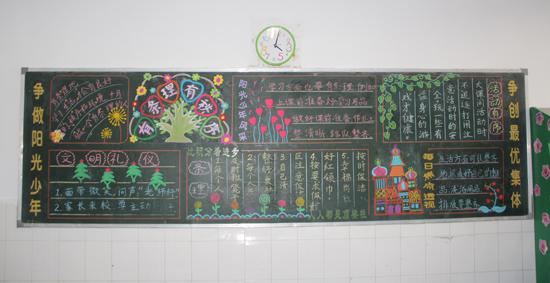 曙光小学部举行十月份主题黑板报评比活动