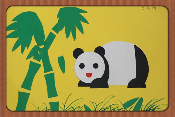 拼贴画:憨态可掬的大熊猫