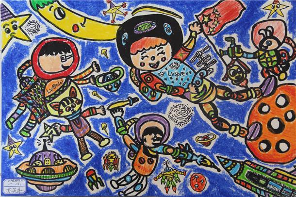 初一18班苏笑炜 《太空环行》-淮外科技节 科学幻想绘画活动部分优秀图片