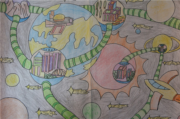 初一15班张强 《星球隧道》-淮外科技节 科学幻想绘画活动部分优秀作图片