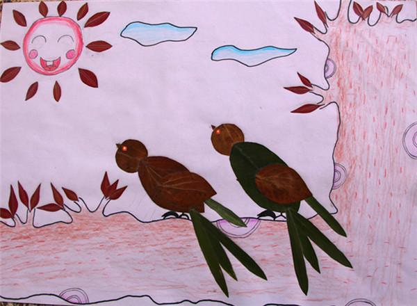diy小学拼贴画树叶环保v小学图片