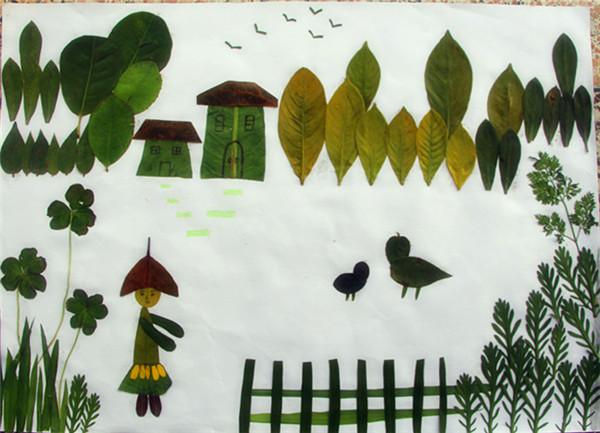 术整合之《树叶拼贴画》