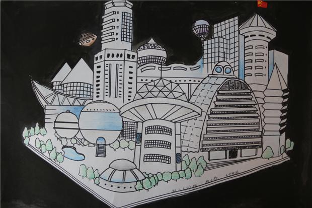 班 杨云骁 《太空家园》-淮外科技节 科学幻想绘画活动优秀作品图片