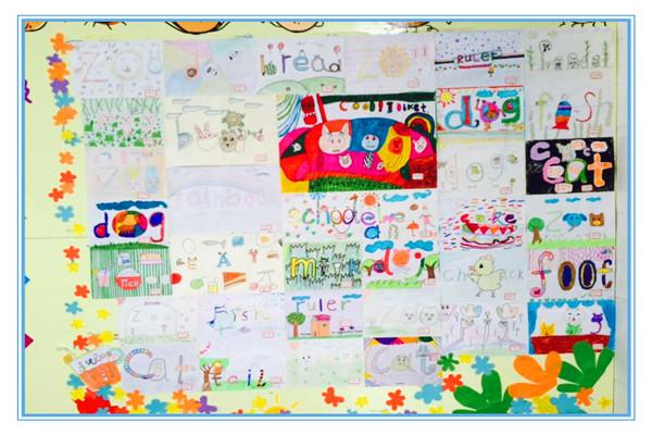 """三年级学生""""单词创想英语小报""""作品展高清图片"""