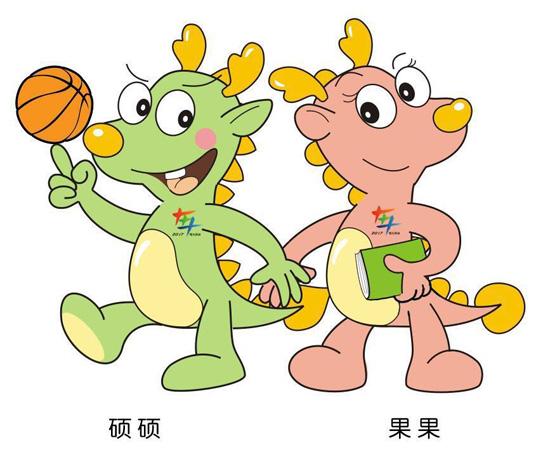 """孩子们给两只小龙起了两个可爱的名字——""""硕硕""""和""""果果""""."""